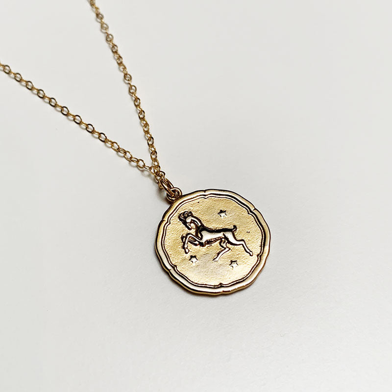 Bijoux B,  Jewelry,  Large Zodiac Necklace - Gold plated, - Coast Modern