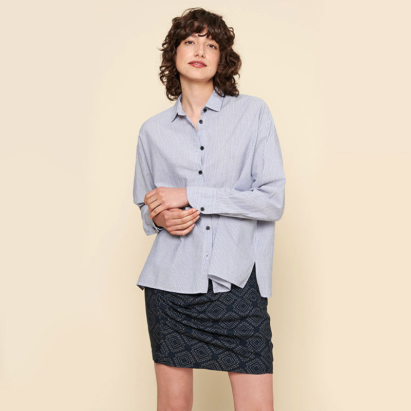 Acote,  Tops,  Acote Striped Long Sleeve Shirt - Rayures Blees, - Coast Modern