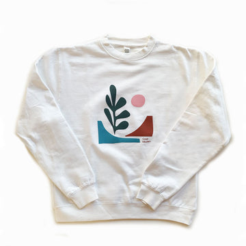 Cotton Links,  Tops,  Coast Modern Baja Crew Sweatshirt - White, - Coast Modern