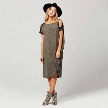 Knot Sisters,  Dresses,  Knot Sisters Beth Dress - Olive Black Moon Dust, - Coast Modern