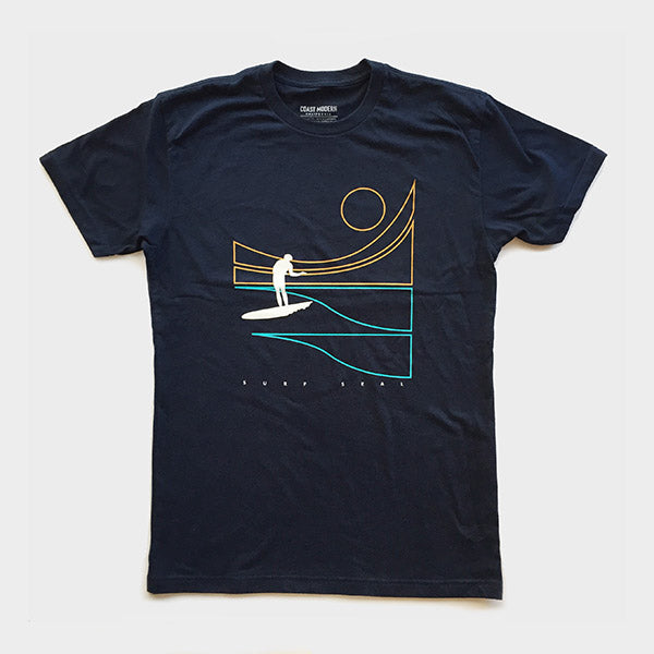 OC Screen Print, Coast Modern Sol Surfer Tee - Navy, Shirts, Coast Modern