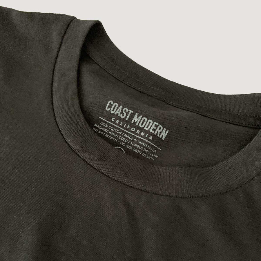 OC Screen Print, Coast Modern Curved Hem Tee - Black, Shirts, Coast Modern