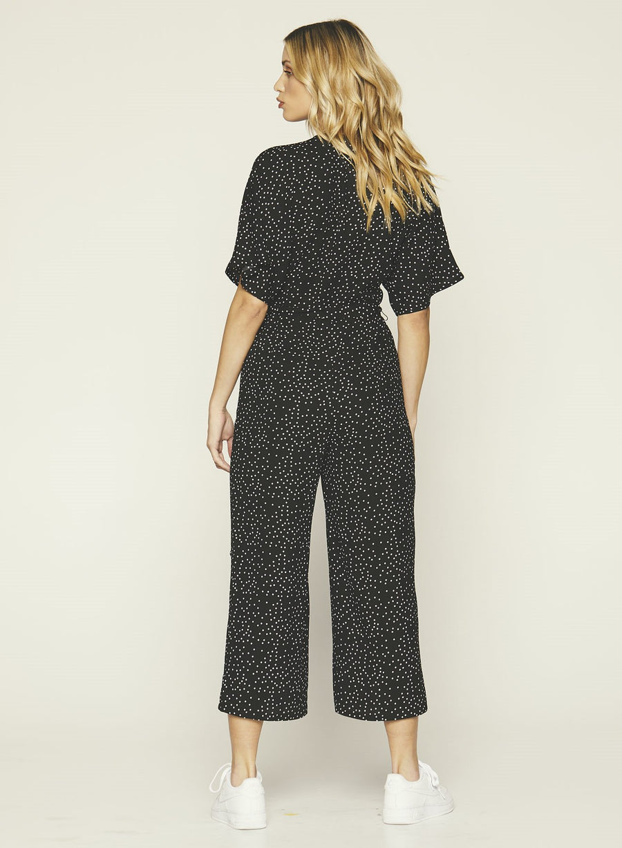 Knot Sisters,  Dresses,  Knot Sisters Ruby Jumpsuit - Black with White Polka Dots, - Coast Modern