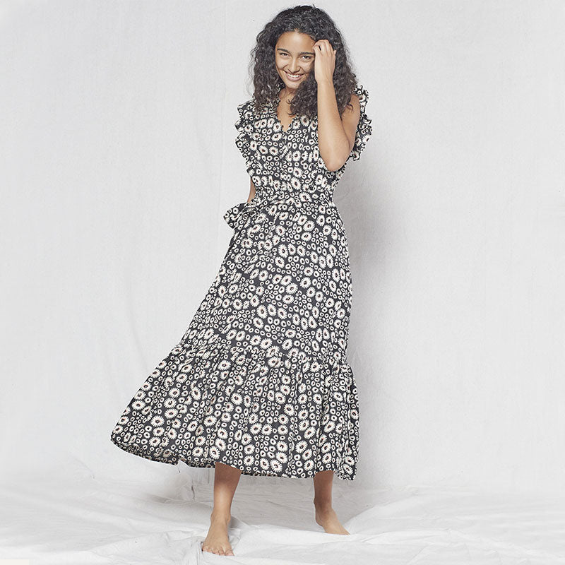 Outerknown,  Dresses,  Outerknown Canyon dress - Pitch black wild daisy, - Coast Modern