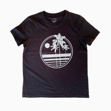 OC Screen Print,  Tops,  Palms Organic Tee by Coast Modern - Black, - Coast Modern