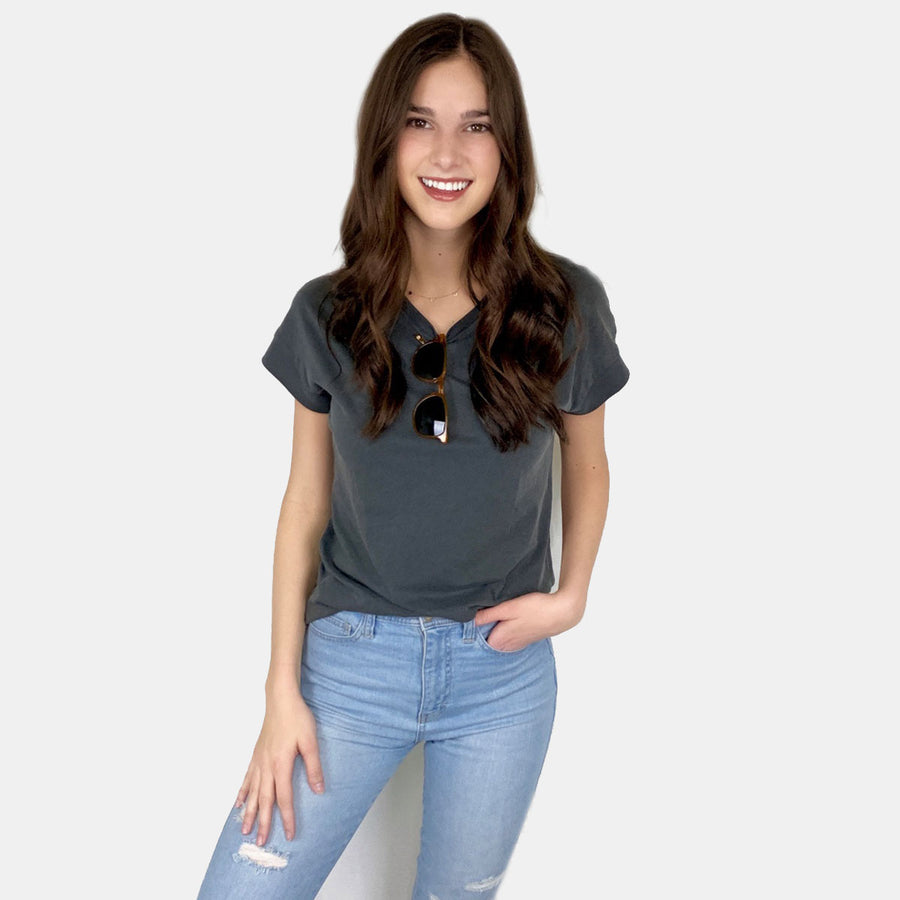 Cotton Links, Coast Modern Robby Tee - Charcoal, Tops, Coast Modern