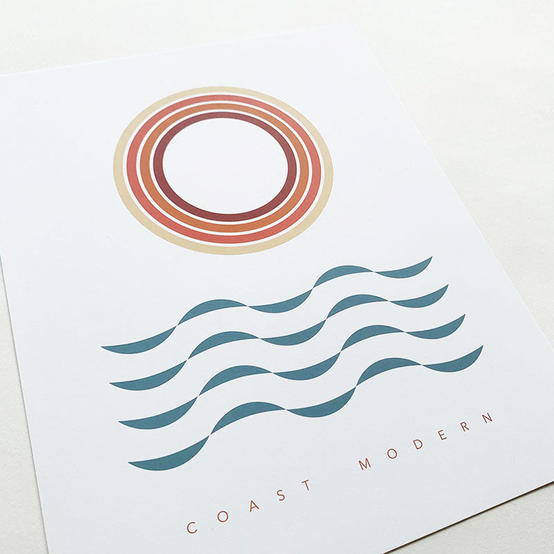 Coast Modern,  Furniture & Decor,  Coast Modern Sun Waves Poster Print - No Frame, - Coast Modern