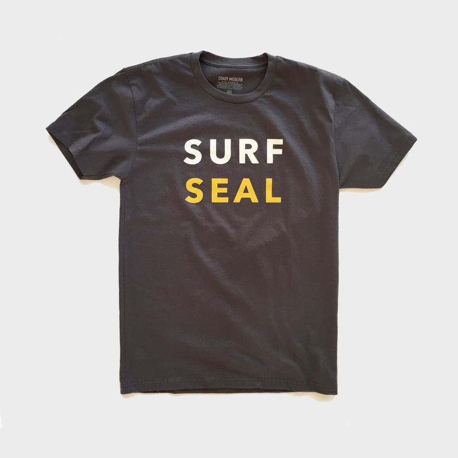 OC Screen Print, Coast Modern Surf Seal Tee Charcoal, Shirts, Coast Modern