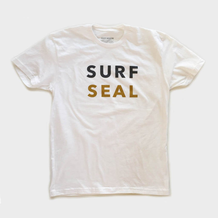 OC Screen Print, Coast Modern Surf Seal Tee White, Shirts, Coast Modern