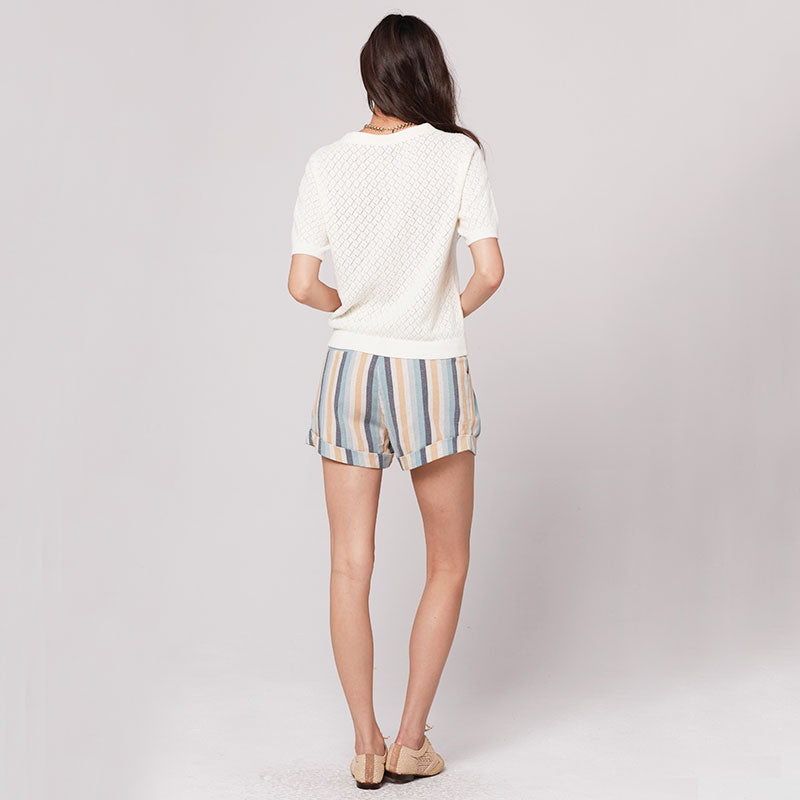 Knot Sisters Sasha Short - Natural blue Stripe - Coast Modern