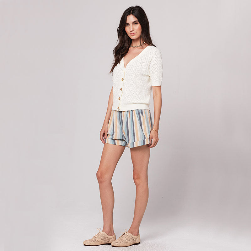 Knot Sisters,  Bottoms & Denim,  Knot Sisters Sasha Short - Natural Blue Stripe, - Coast Modern