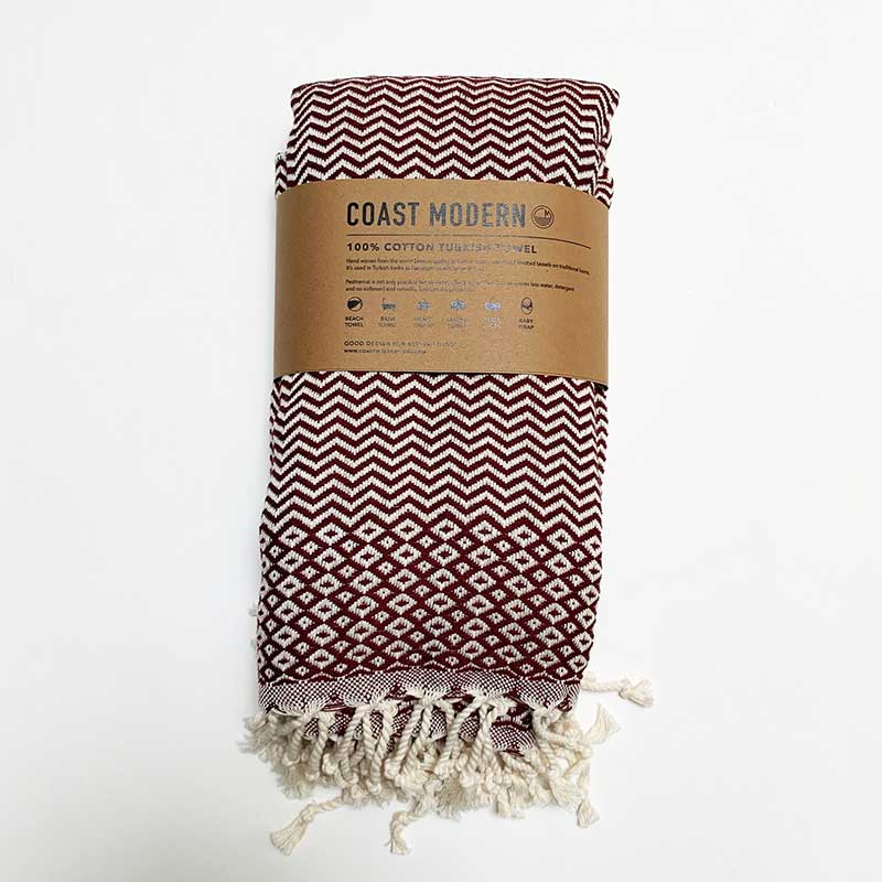 Rasim Arabaci, Coast Modern Turkish Towel - Burgundy, Textiles, Coast Modern