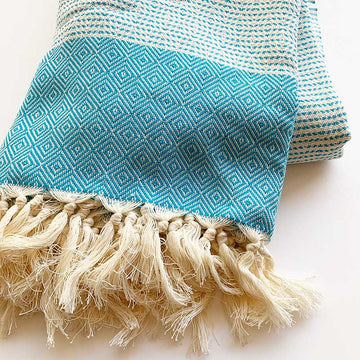 Rasim,  Textiles,  Coast Modern Turkish Towel Blanket - Blue, - Coast Modern