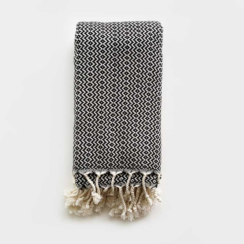 Rasim,  Textiles,  Coast Modern Turkish Towel - Hulya Black, - Coast Modern