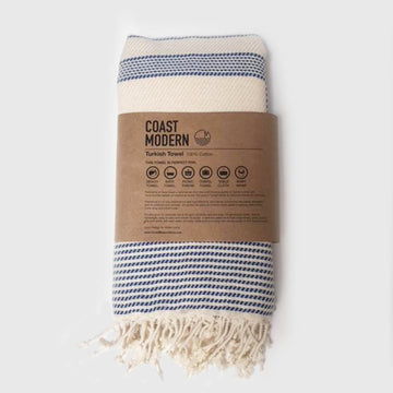 Rasim Arabaci,  Textiles,  Coast Modern Turkish Towel  - Sila Navy / White, - Coast Modern