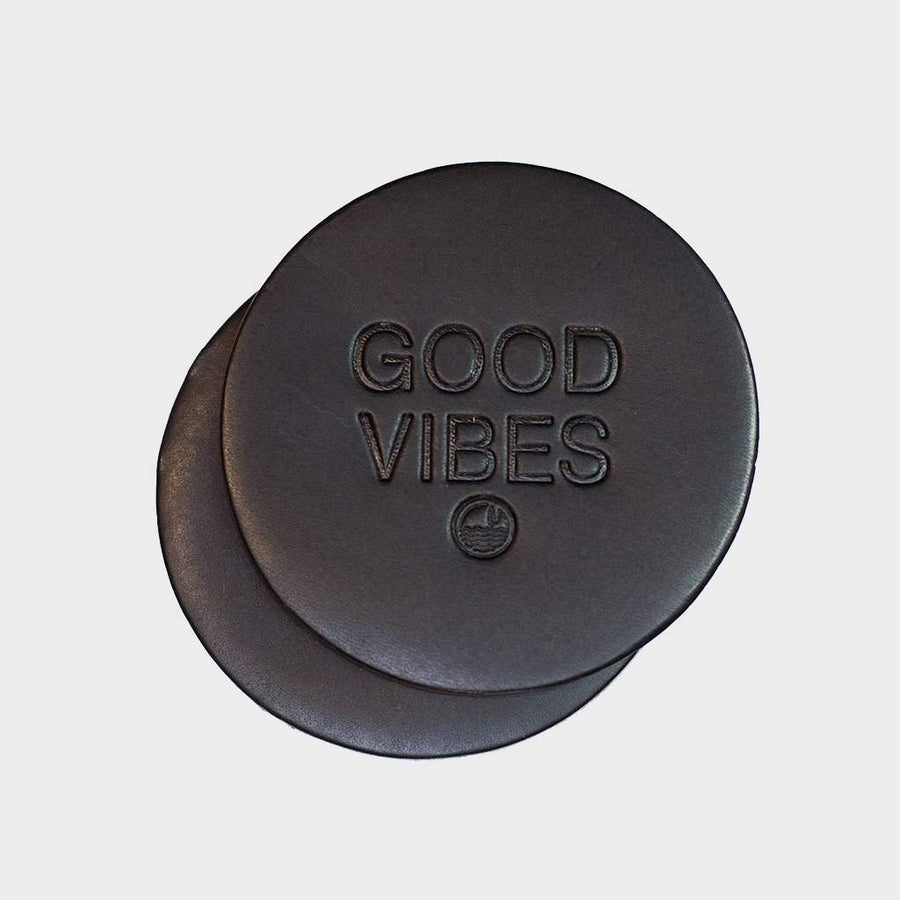 Coast Modern Good Vibes Coasters x2 - Black - Coast Modern