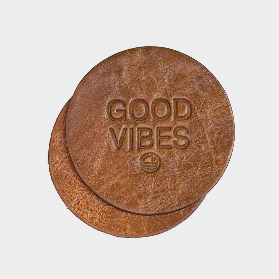 Coast Modern Good Vibes Coasters x2 - Brown - Coast Modern