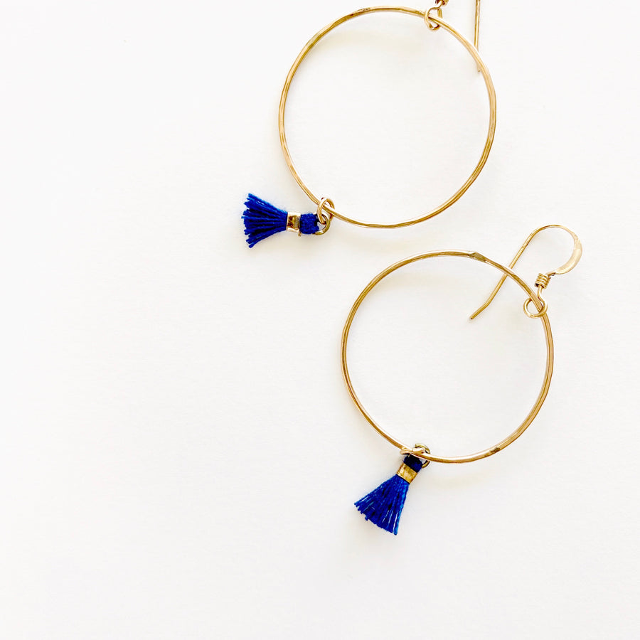 Bijoux B,  Jewelry,  Mini Tassel Hoop Earrings - 14kgf, - Coast Modern