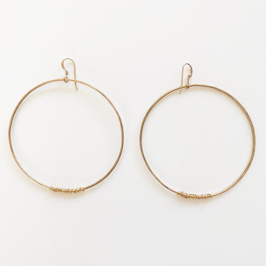 Bijoux B,  Jewelry,  Large Wire Hoop Earrings - 14kgf, - Coast Modern
