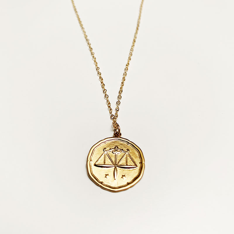 Bijoux B,  Jewelry,  Large Zodiac Coin Necklace - Gold plated, - Coast Modern