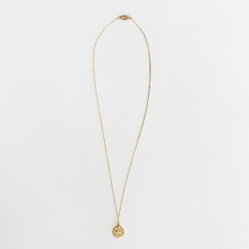 Bijoux B,  Jewelry,  Small Zodiac Coin Necklace Gold plated, - Coast Modern