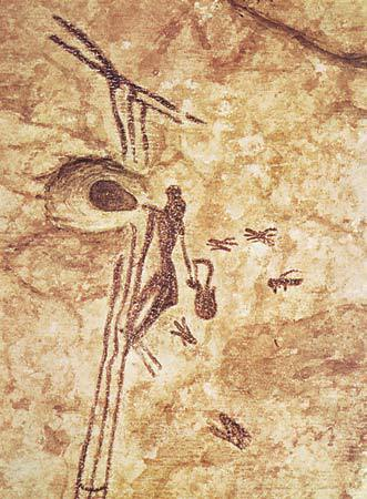 Cave painting found in Spain that shows an early human climbing a ladder or rope to harvest honey from cliff-dwelling honeybees