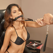 MOUTH GAG WITH LEASH BLACK
