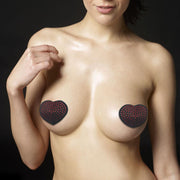 REUSABLE RED DIAMOND HEART NIPPLE PASTIE