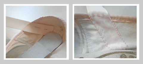 Sewing ribbon on pointe shoe