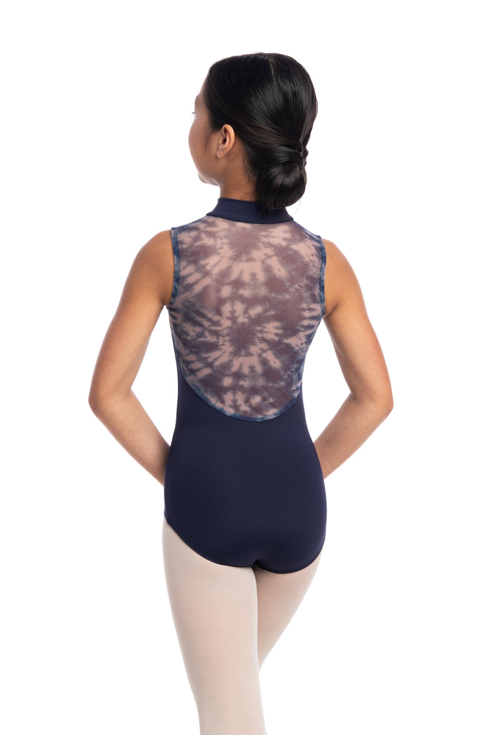 AinslieWear 1062SHG Zip Front Girls Leotard With Shibori Print