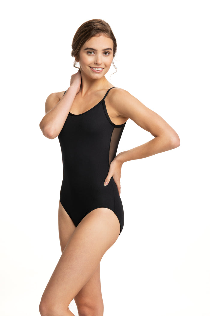 AinslieWear 136 Allegra - Low Back Leotard with Mesh Panels