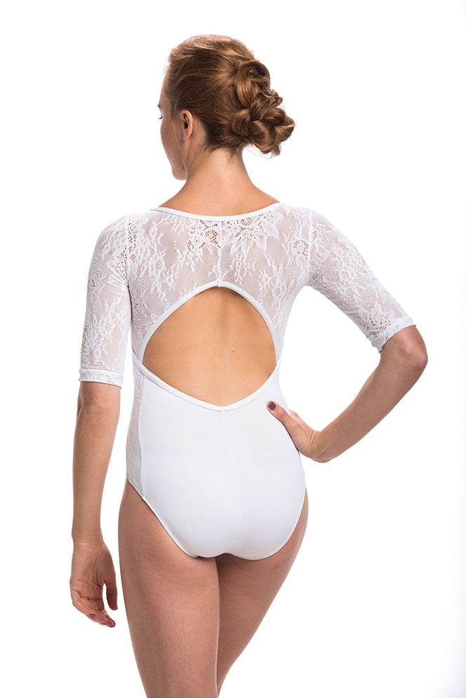 Long sleeve lace leotard in white