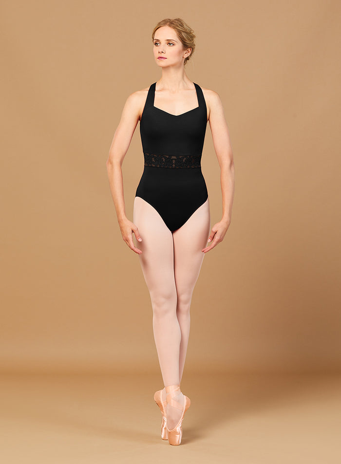 Bloch L2965 EMB Trim V Neck Open Back Leotard