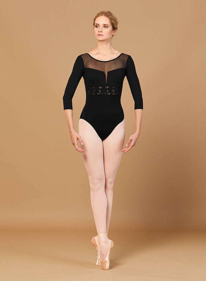Bloch L5516 EMB 3/4 Sleeve Low Back Leotard