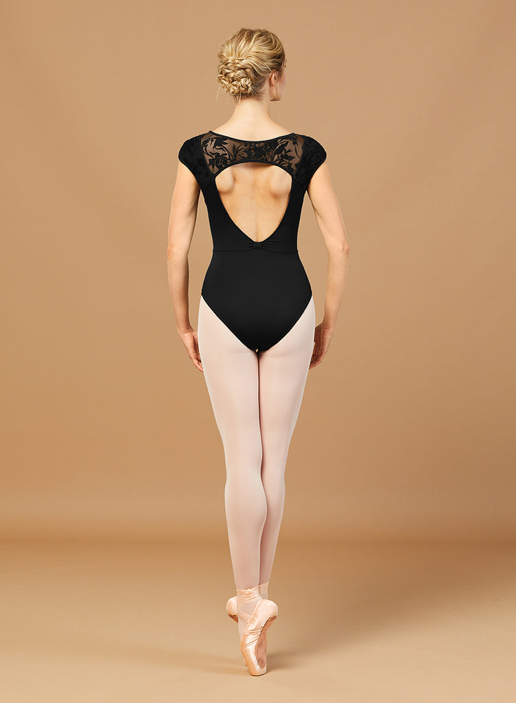 Bloch L7882 Open Back Print Mesh Cap Sleeve Leotard