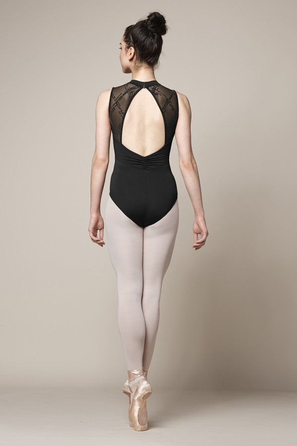 Mirells M3072LM High neckline messina flock mesh panel open tank leotard