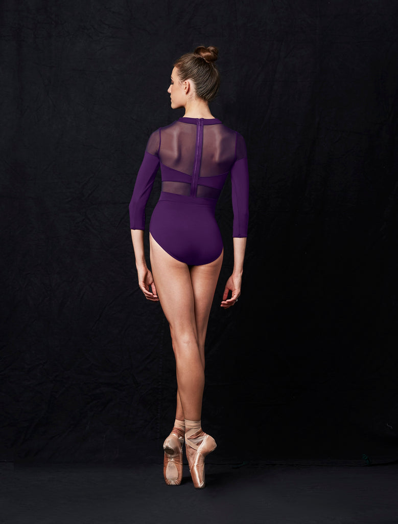 Mirella Embroidered cut out V Neck 3/4 Sleeve Leotard MJ7216