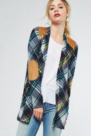 Plaid Cardigan with Suede Elbow Patch