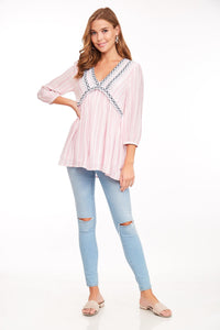 Lace Trim Stripped V-neck Top