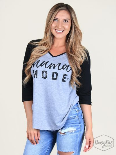 Mama Mode Grey & Black V-Neck Raglan
