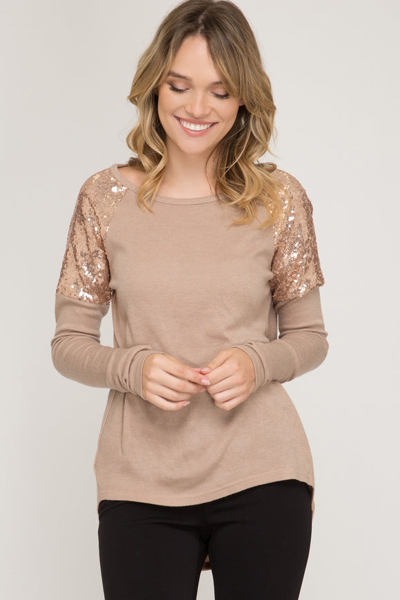 Sequin Shoulder Top Taupe
