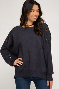 Navy Hi Low Sweater