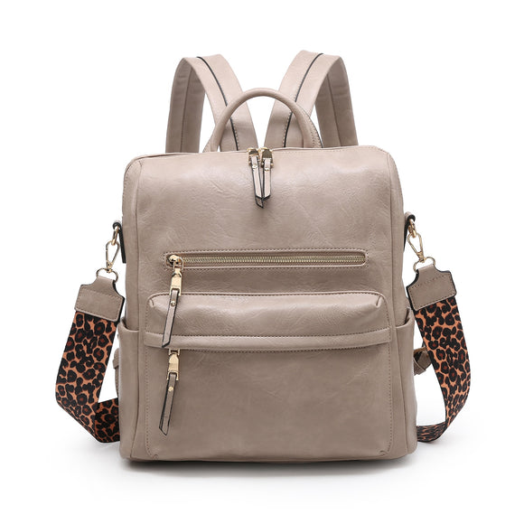 Convertible Backpack with Leopard Print Guitar Strap