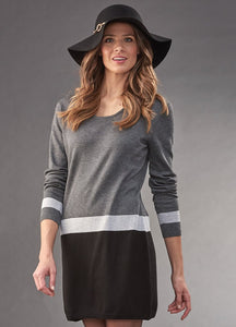 Charlie Paige Black Color Blocked Sweater Dress