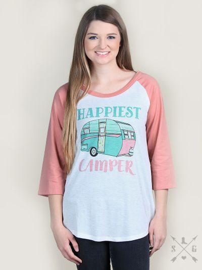 Happiest Camper on Pink & White Raglan