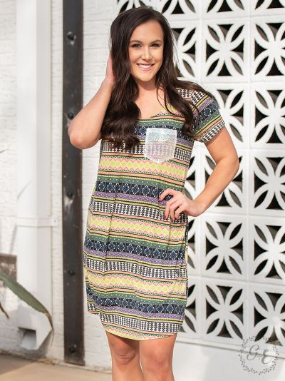 Ladies Aztec T-Shirt Dress with Iridescent Sequin Pocket