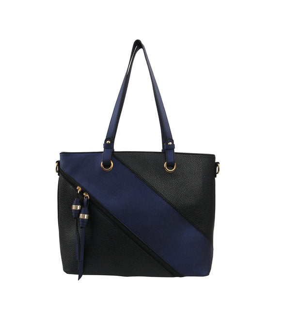 Zip Patched Shoulder Bag Black