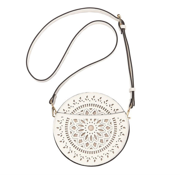 Mudpie Faux Leather Laser Cut Crossbody Canteen Bag in White