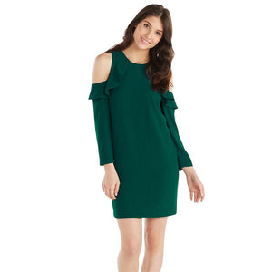 Mudpie Aria Cold Shoulder Ruffle Dress Peacock SALE