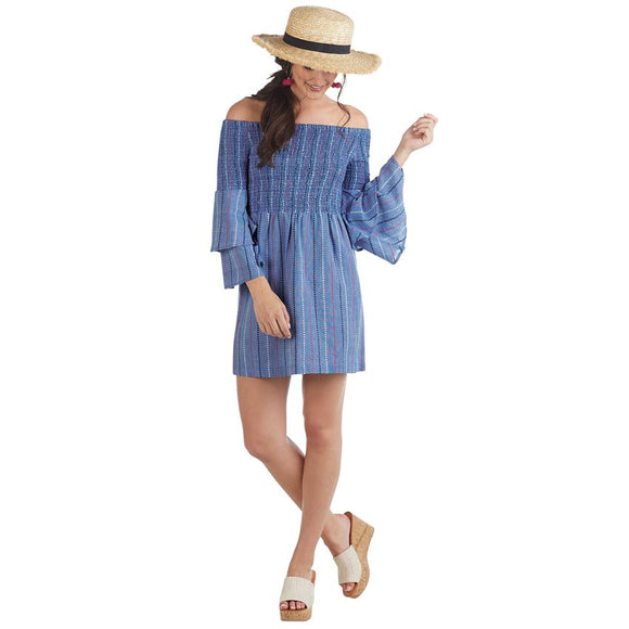 Mudpie Desi Off-The-Shoulder Smocked Dress in Blue Chambray